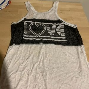 Love black and white tank top